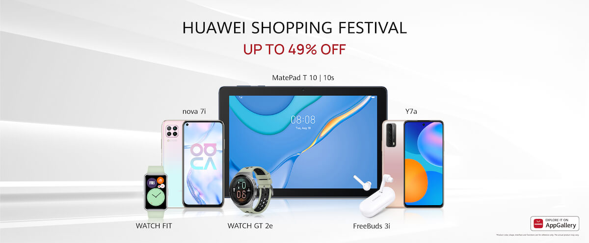 Great Offers on the Latest Devices from Smartphones, Tablets and a Wide Range of Innovative Wearables during HUAWEI Shopping Festival