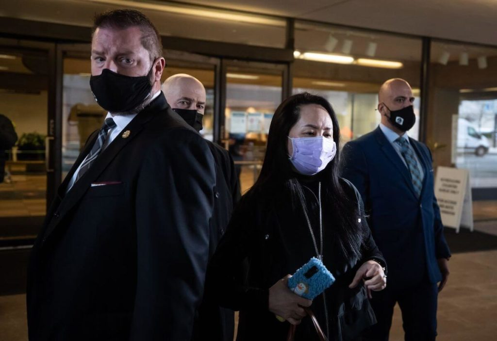 Meng Wanzhou exits Supreme Court after a hearing in Vancouver, British Columbia, Canada, on Jan. 29. Photographer Darryl Dyck Bloomberg